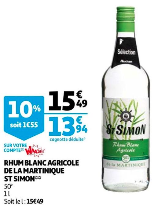 Bouteille de Rhum St Simon agricole de la martinique (via 1.55€ fidélité)