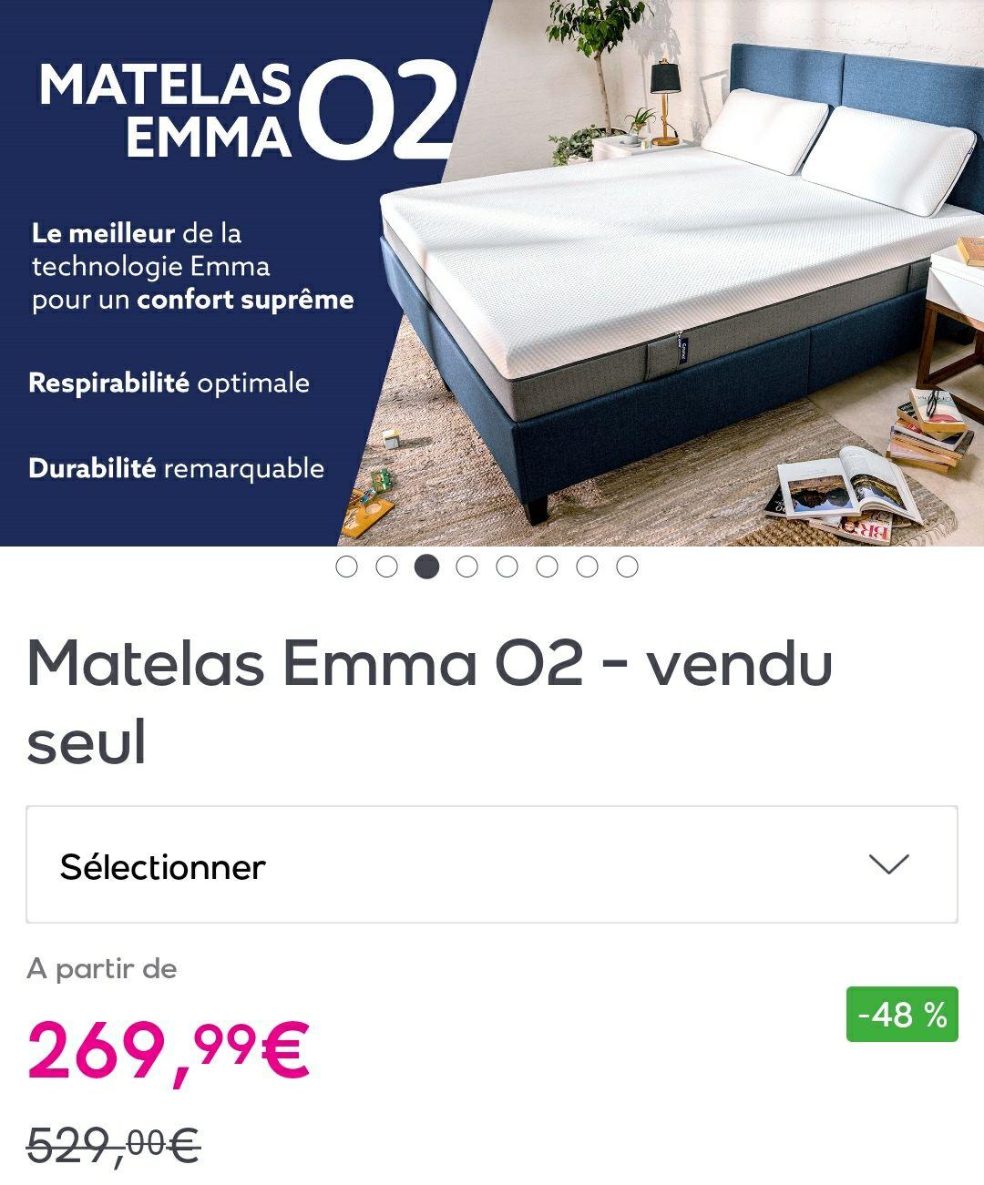 Matelas Emma O2 (Diverses tailles) - Ex : 140x190cm