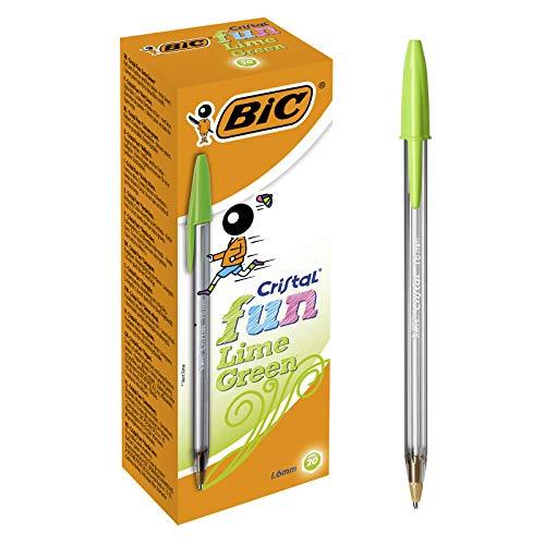 Boîte de 20 Stylos-Bille BIC Cristal Fun Pointe Large (1,6 mm) - Vert Citron