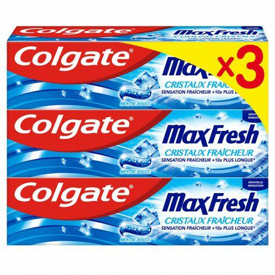 Lot de 3 tubes de dentifrice Colgate MaxFresh - 3x75 ml