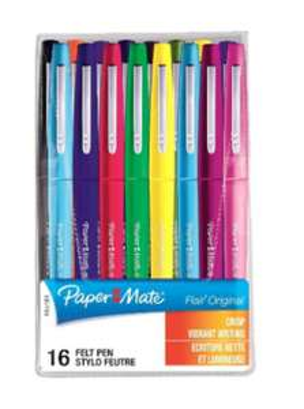 Lot de 16 feutres PaperMate Flair Original (dans une sélection de magasins)