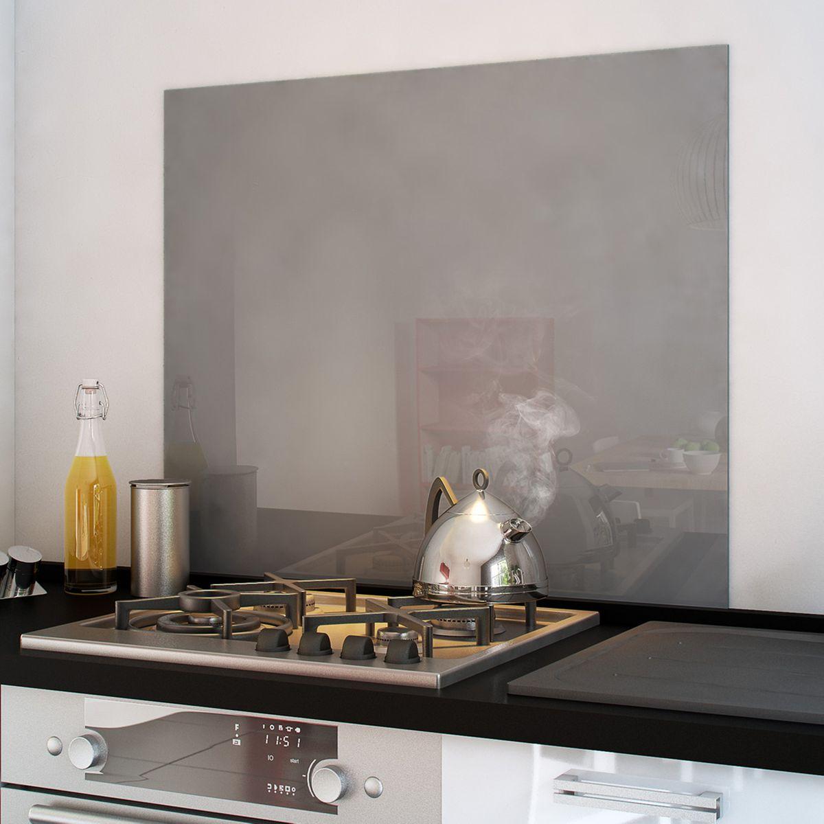 Crédence Fond de hotte verre trempé - Gris, 90x70 cm (cuisissimo.com)