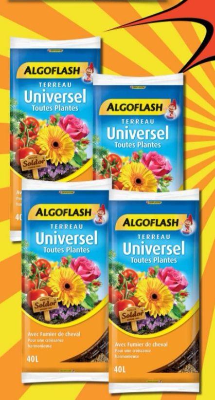 Lot de 4 sacs de 40 litres de terreau universel Algoflash - 4x40L