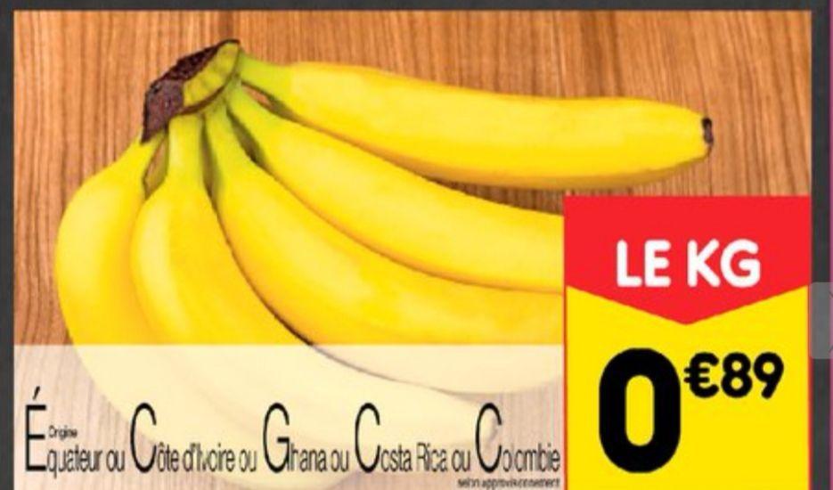 Bananes Cavendish catégorie 1 Origine Amérique ou Afrique (le kilo)