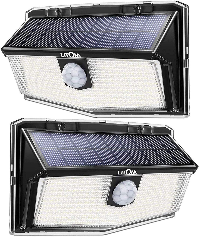 Lot de 2 Lampes solaires d'extérieur Litom/Mpow (300 LED) - Détecteur de mouvement, 3 Modes, Étanche IP67 (Vendeur tiers)