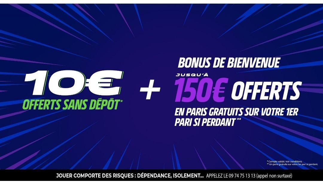 10€ offerts en freebet sans dépôt + jusqu'à 150€ remboursés en freebet si premier pari perdant
