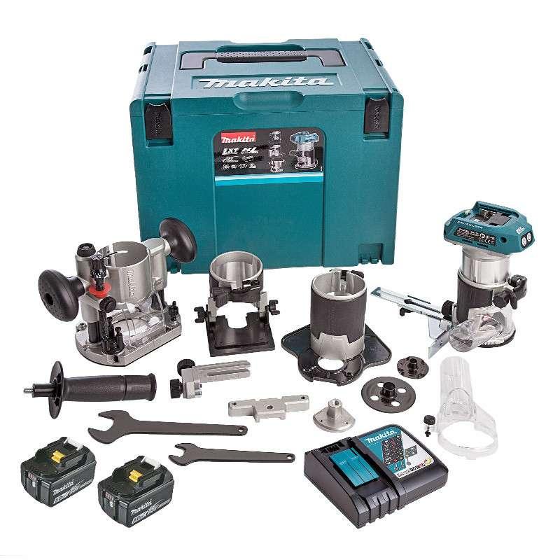 Affleureuse Makita DRT50RTJX3 - 18V + 2 Batteries BL1850 (5Ah) + Chargeur + Coffret & kit d'accessoires