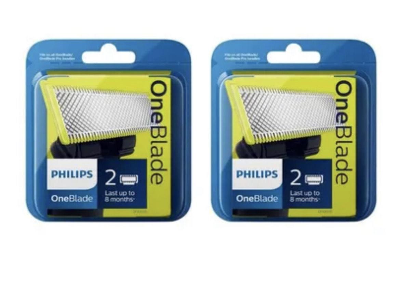 Lot de 4 Lames pour Tondeuse Philips OneBlade QP220/55