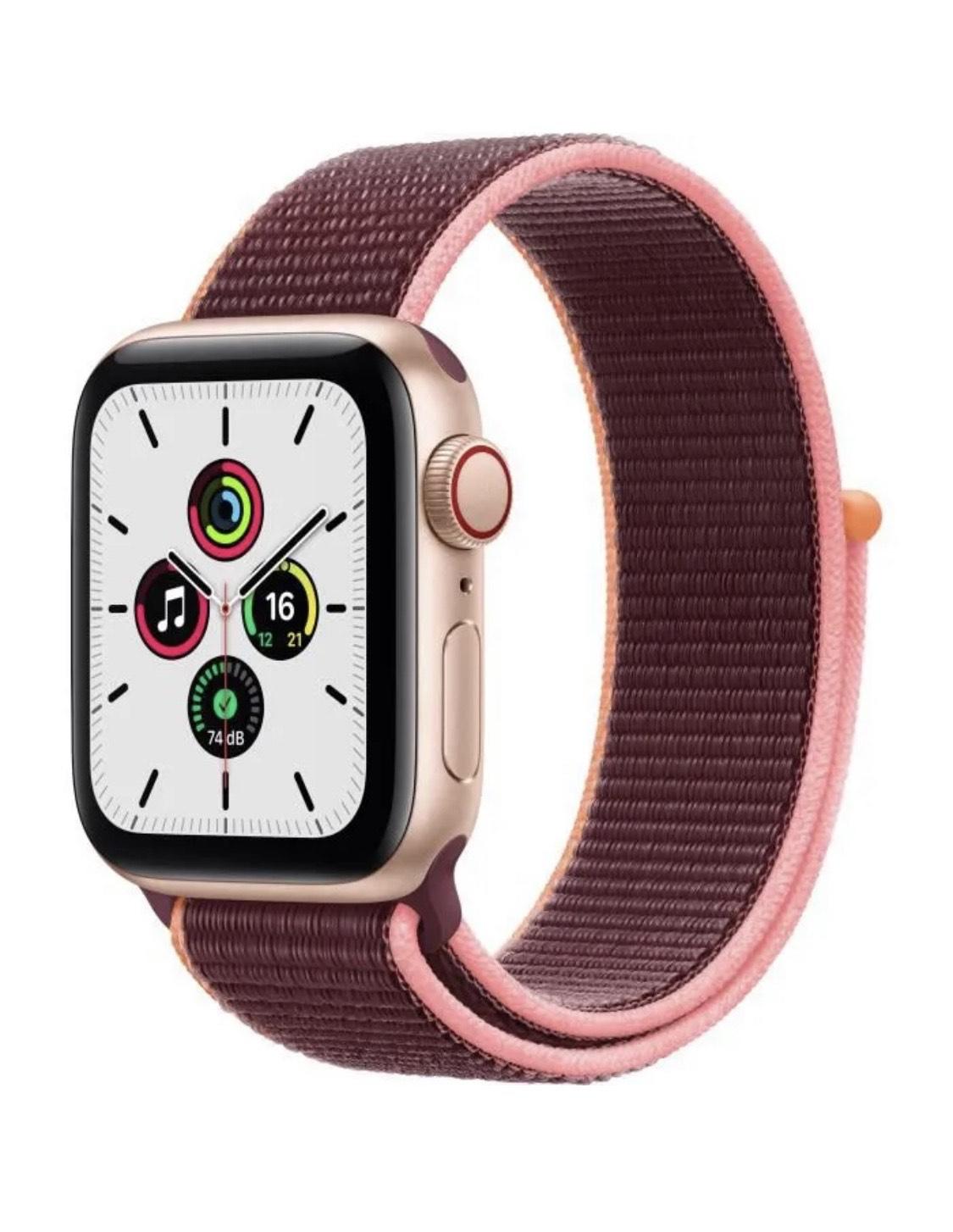Montre connectée Apple Watch SE (GPS + Cellular) - Boîtier 40mm en Aluminium Or, Bracelet Sport Prune