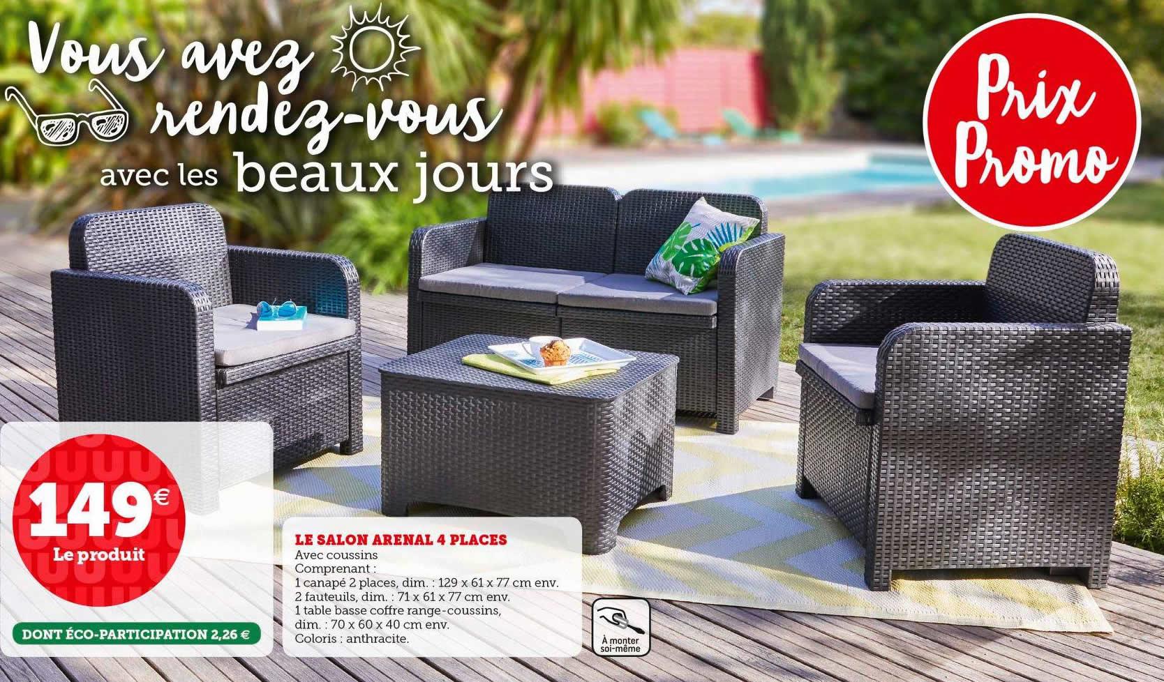 Salon de jardin Arenal (4 places) : 1 canapé 2 places, 2 fauteuils, 1 table basse