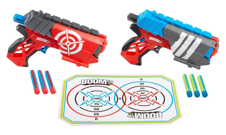 Pistolets à fléchettes Boomco Dual Defenders + Cible
