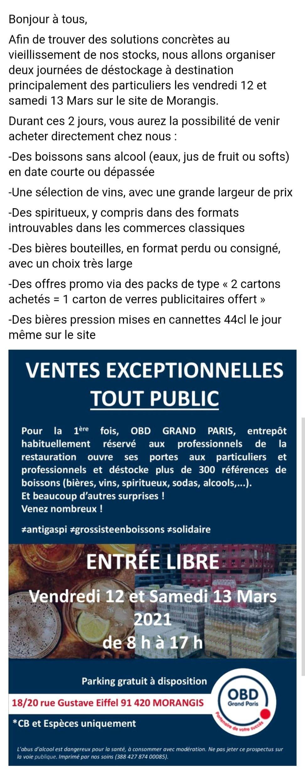 Sélection d'offres promotionnelles - Ex : 2 Cartons achetés = 1 Carton de verres publicitaires offert - OBD Grand Paris (Morangis 91)