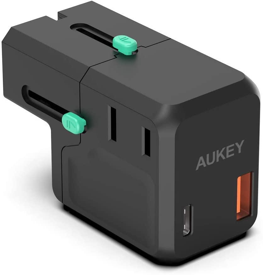 Chargeur de voyage Aukey PA-TA06 (EU, UK, US & AU) - Type-C 18W PD 3.0 + USB-A (Vendeur tiers)