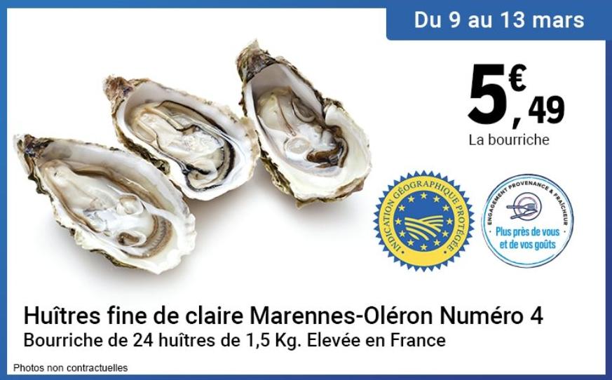 Bourriche de 24 Huîtres Fine de claire de Marennes-Oléron N°4 IGP (1,5 Kg) - Châtellerault (86)