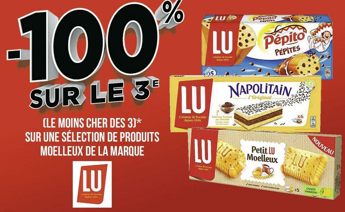 3 produits Lu Napolitain L'Original, Pépito Pépites ou Petit Lu Moelleux achetés = 1 offert (le moins cher)