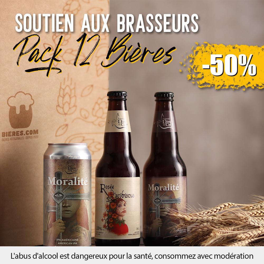 Pack de 12 bières Dieu du Ciel Soutien aux Brasseurs IPA & Ale - Bieres.com