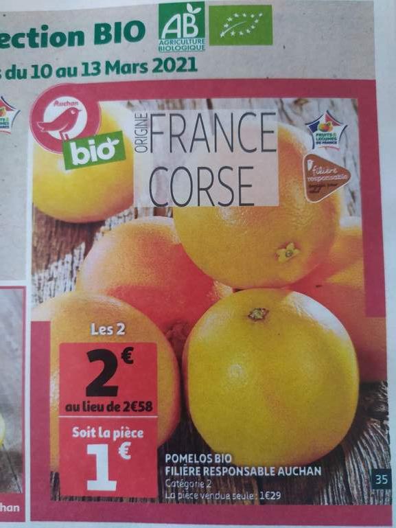 Lot de 2 pomelos bio (Origine Corse)