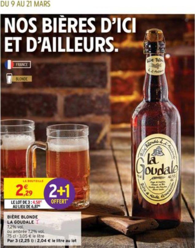 Lot de 3 bouteilles de bière Blonde ou Ambrée La Goudale - 3 x 75cl