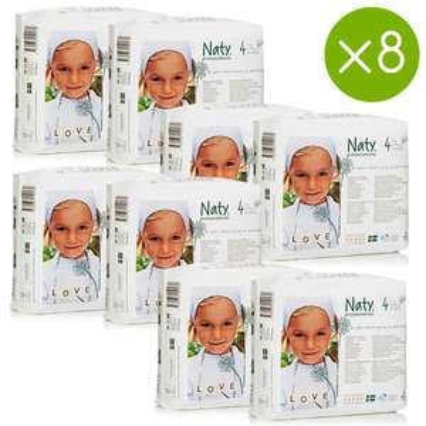 Couches écologiques Naty (Taille 1 à 6) en promotion - Ex : Lot de 8 paquets de 27 couches par paquet (taille 4)