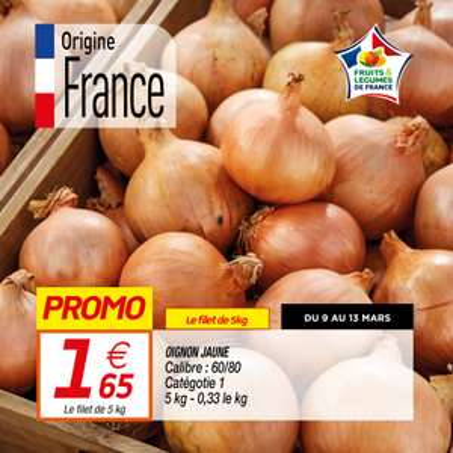 Filet de 5 kg d'oignons jaune origine France catégorie 1