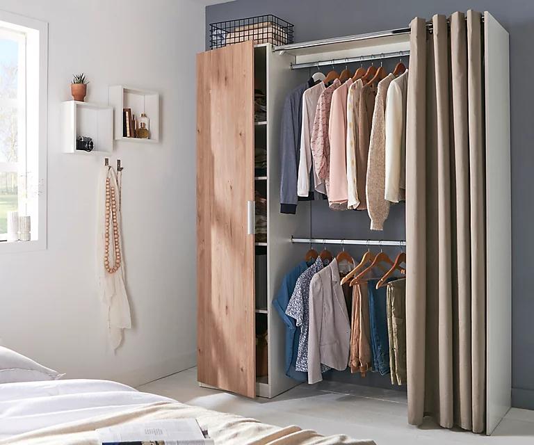 Kit dressing avec porte et rideau Scandi effet chêne clair - 200 x 170 x 49 cm