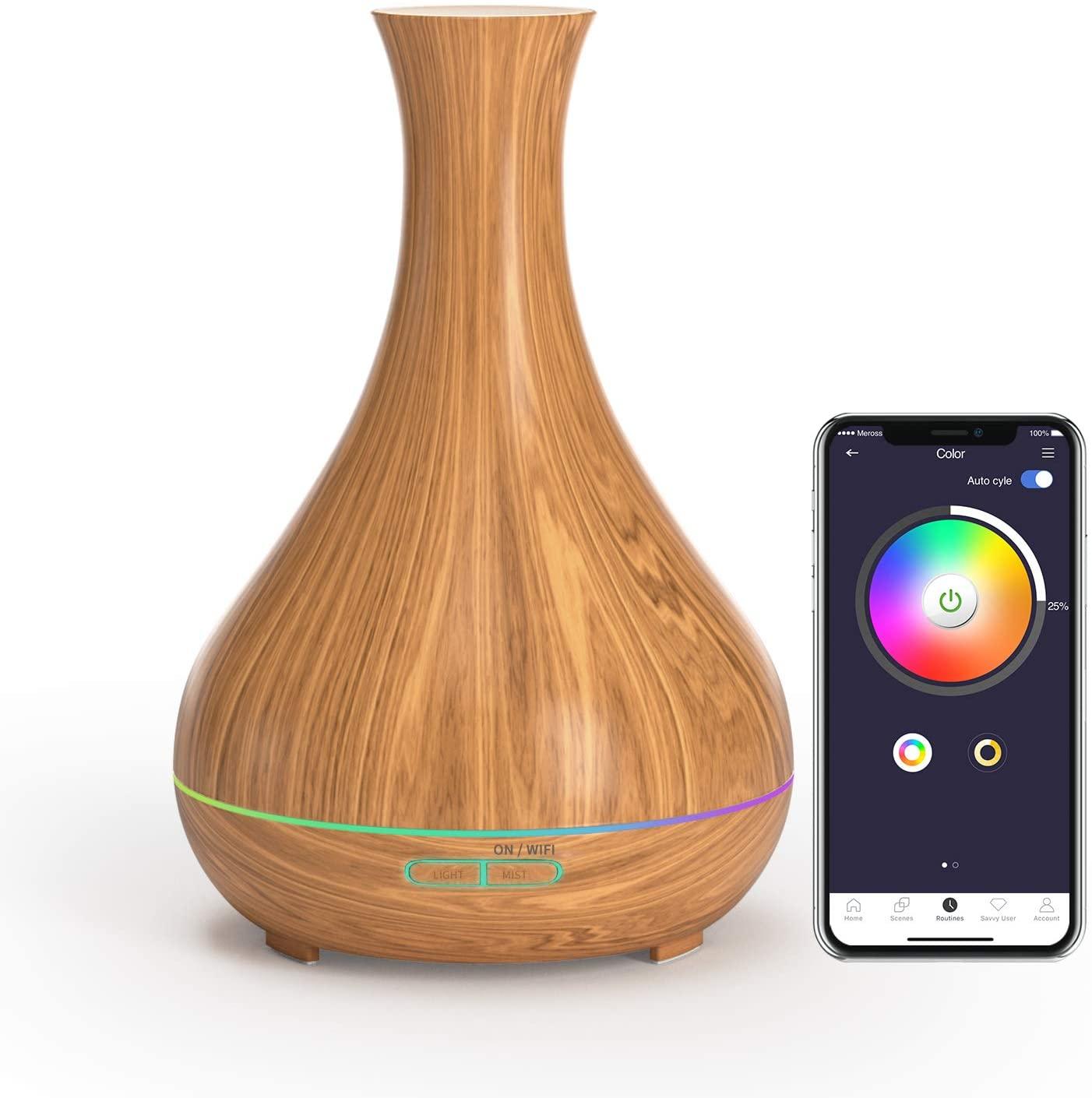 Diffuseur d'huiles essentielles / Humidificateur Connecté WiFi Meross (400 ml) - Compatible Alexa & Google Home, RGB (Vendeur tiers)