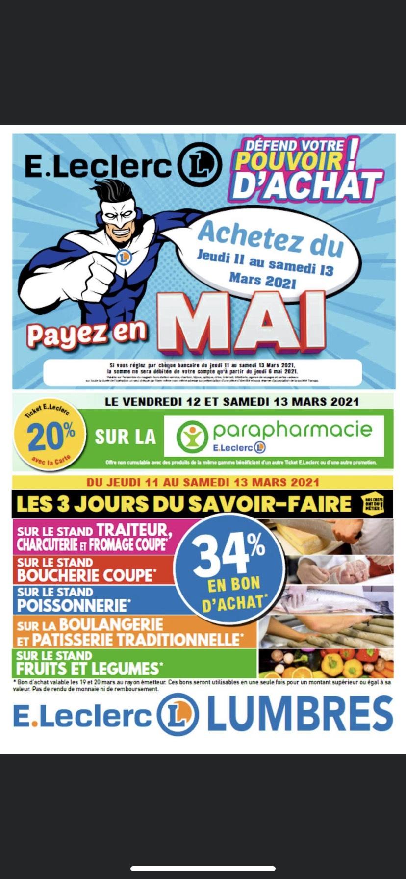 34% remboursés en bon d'achat sur les rayons Boucherie, Boulangerie, Fromages, Fruits & Légumes et Poissonnerie, Traiteur - Lumbres (62)