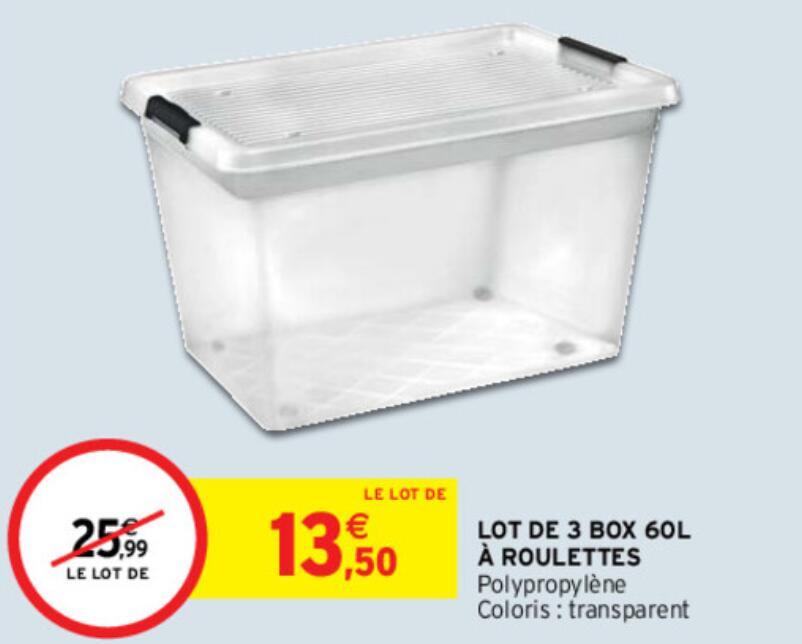 Lot de 3 boîtes en plastique à roulettes - 60 L