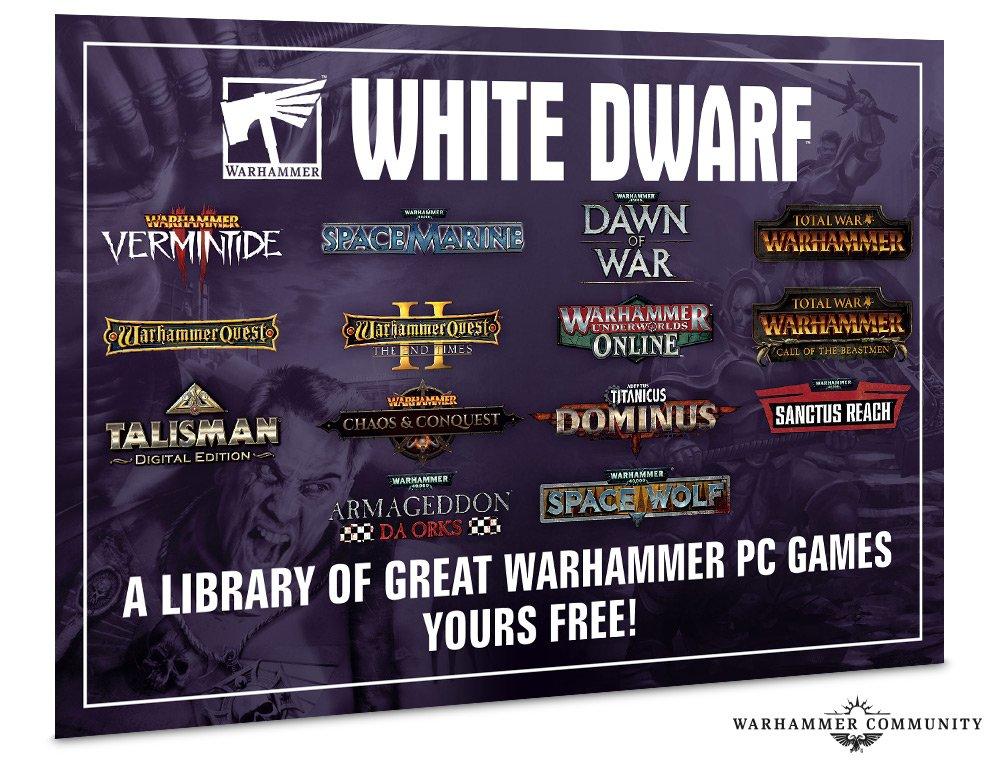 Magazine White Dwarf 462 + 12 jeux PC Dématérialisés dont Warhammer Vermintide 2, Total War Warhammer 1...