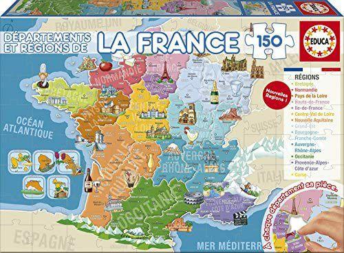 Puzzle Educa Borrás 17238 - Départements & Régions de la France (150 Pièces)