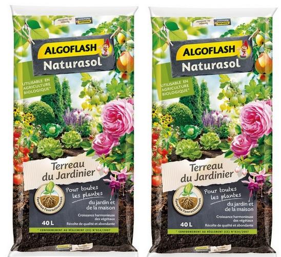Lot de 2 sacs de Terreau du jardinier Algoflash Naturasol - 2 x 40L