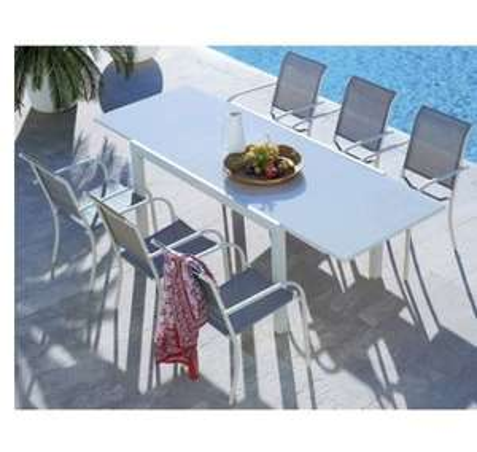 Table jardin en verre Tello + 6 chaises Hyba
