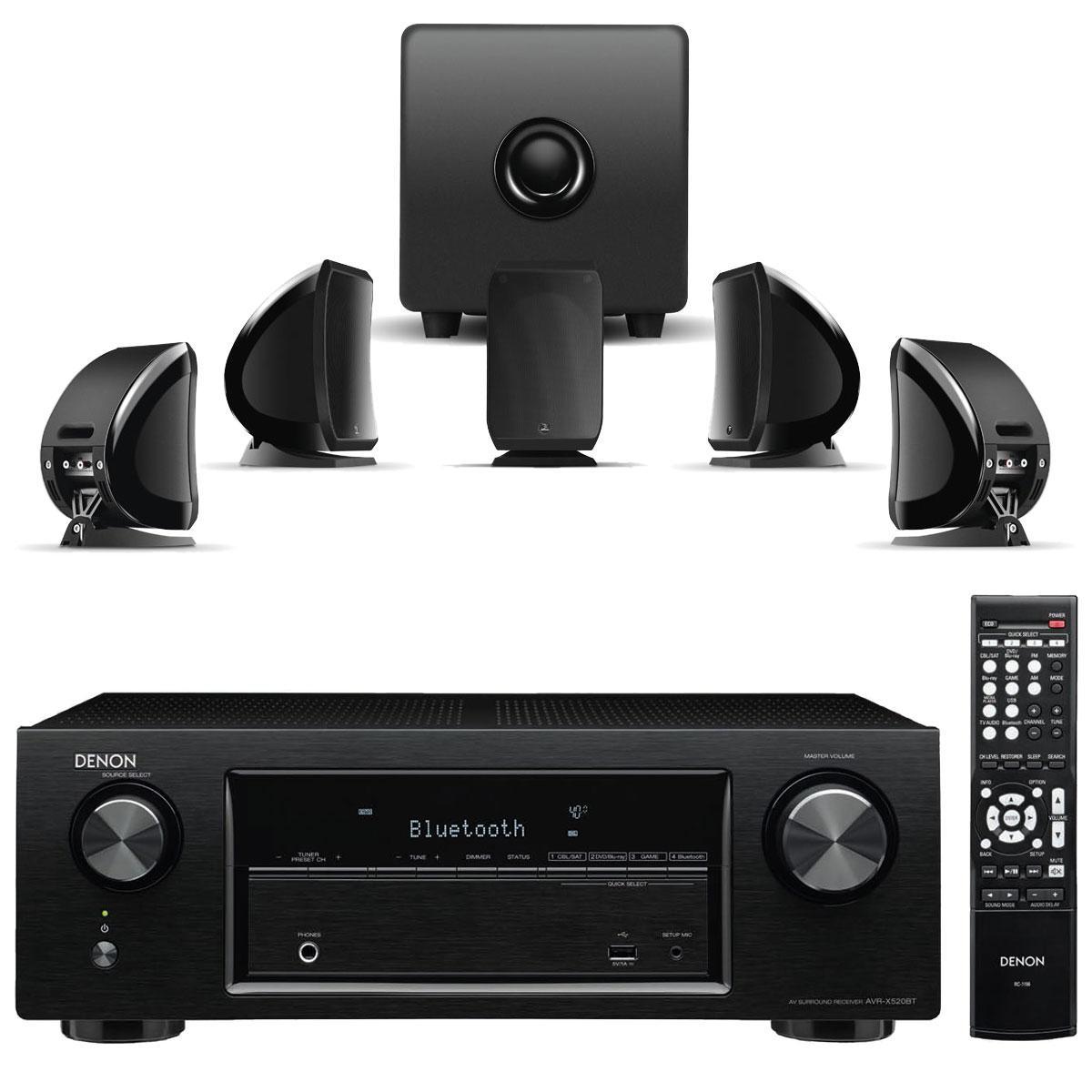 Home Cinéma 5.2 Denon AVR-X520BT + Kit d'enceintes 5.1 Focal Sib & Cub Jet Black