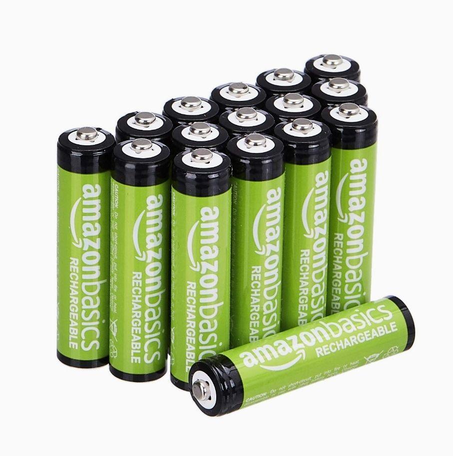 Lot de 16 Piles rechargeables AmazonBasics AAA - 800 mA, préchargées