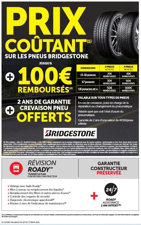 Pneus Brigestone à prix coûtant + de 20 à 100€ remboursés pour 2 ou 4 pneus achetés + 2 ans de Garantie Crevaison - Longpont-sur-Orge (91)