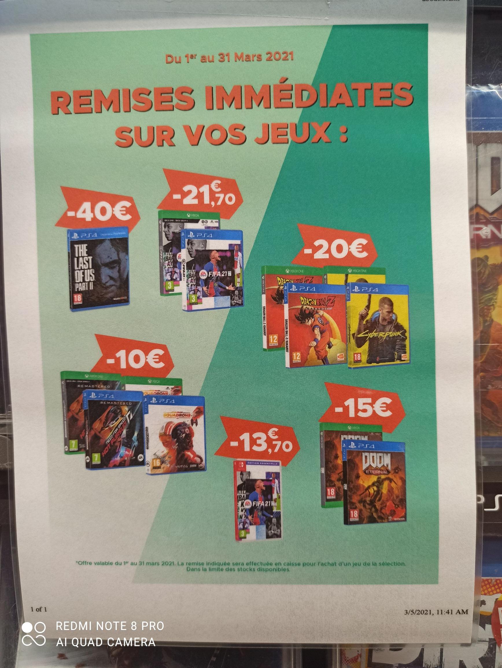Sélection de jeux sur PS4 & Xbox One en promotion - Geneston (44)