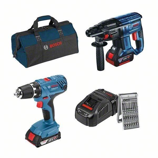 Pack 2 outils 18V Bosch Professional - Perceuse GSR 18V-28 + Perforateur GBH 18V-21, 2 batteries (2.0Ah et 4.0Ah), Chargeur, Sac, Embouts