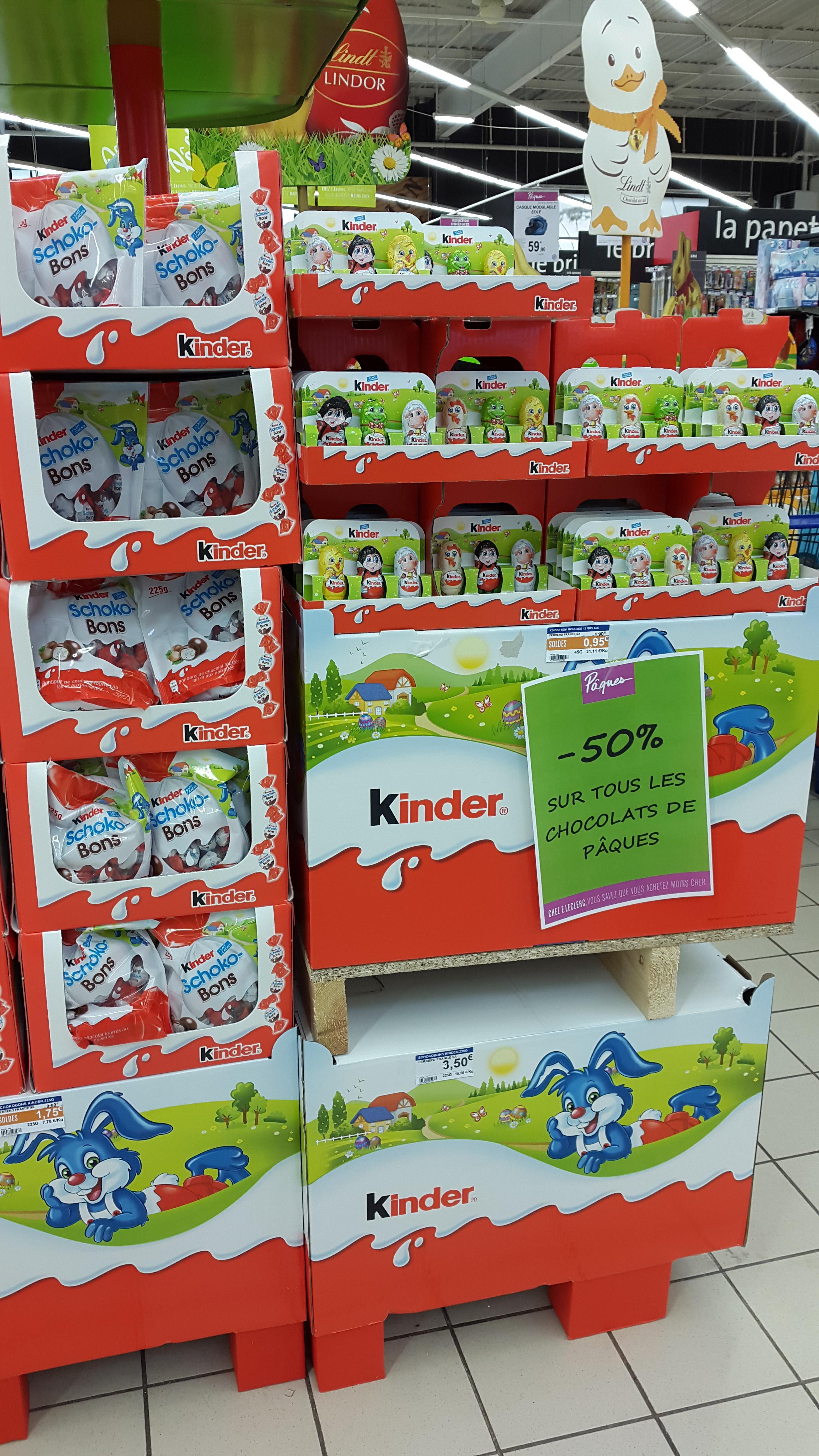50% de réduction sur tous les chocolats de pâques (y compris les Kinders et Ferreros)