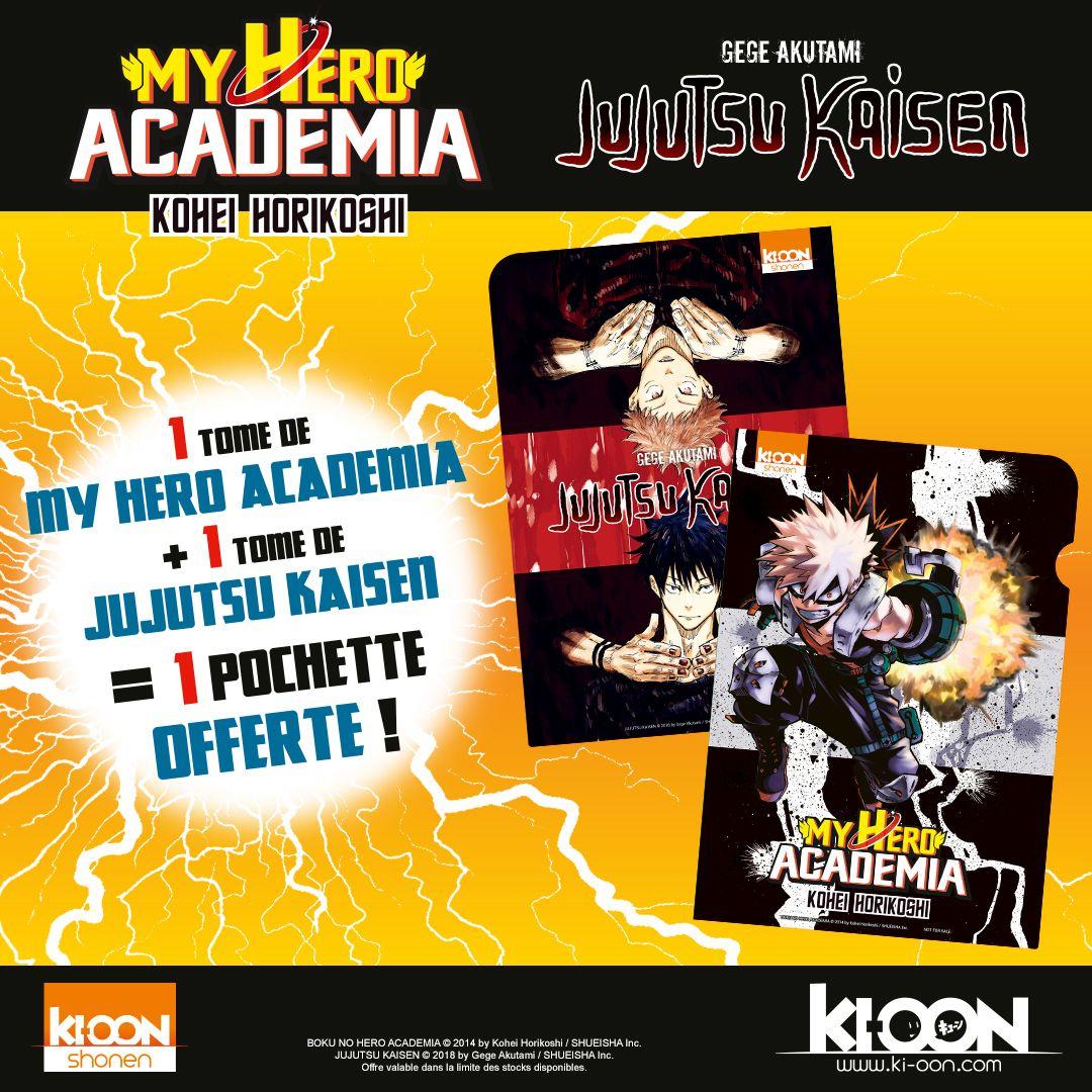 Pochette réversible Jujutsu Kaisen/My Hero Academia offerte pour l'achat d'un tome de Jujutsu Kaisen et d'un tome de My Hero Academia