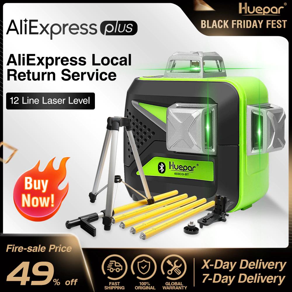 Niveau Laser 3D Huepar 603CG-BT - Faisceau Vert 12 lignes (Entrepôt Espagne)