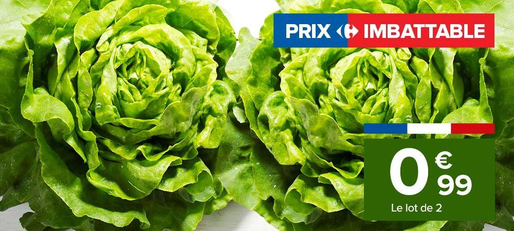 Lot de 2 Salades Catégorie 1 Origine France - Variétés au choix