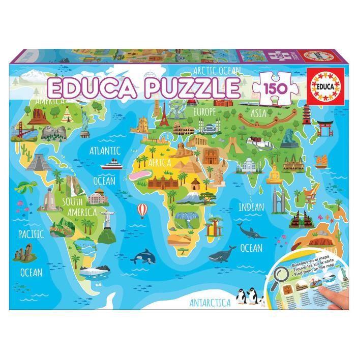 Puzzle Educa 150 pièces Mappemonde Monuments
