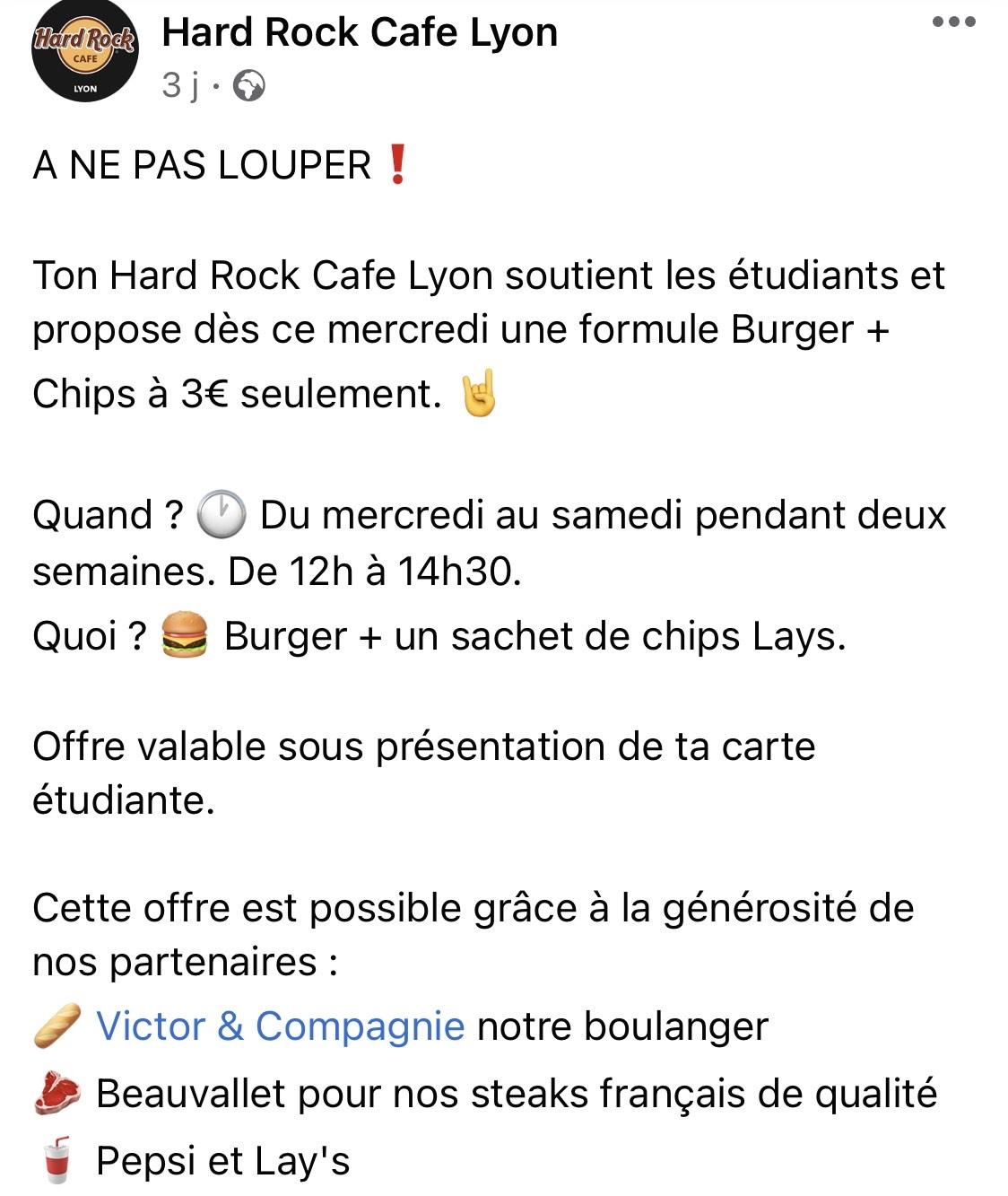 [Étudiants] Burgers + Chips à 3€ - Hard Rock Cafe Lyon (69)