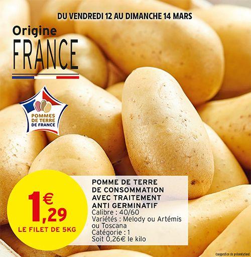 Filet de 5 kg de pommes de terre de consommation - Catégorie 1, Origine France