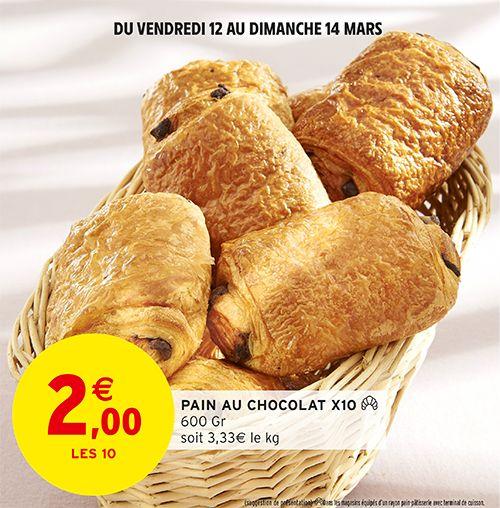 Lot de 10 pains au chocolat cuits sur place (600g)