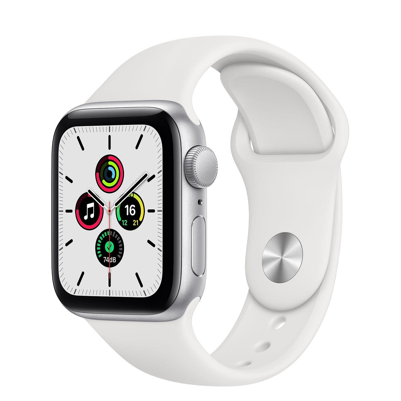 Montre connectée Apple Watch Se - GPS, 44 mm, Boîtier en Aluminium Argent, Bracelet Sport Blanc