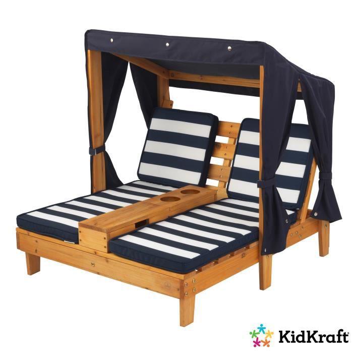 Chaise longue pour enfant KIDKRAFT avec porte-gobelets - Tissu Marine, 92,71 x 85,09 x 89,54 cm
