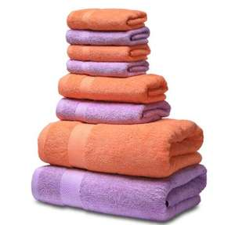 Ensemble de serviettes de bain en coton Semaxe : 2 grandes serviettes (70x140) + 2 essuie-mains (40x70) + 4 gants de toilette (34x34)