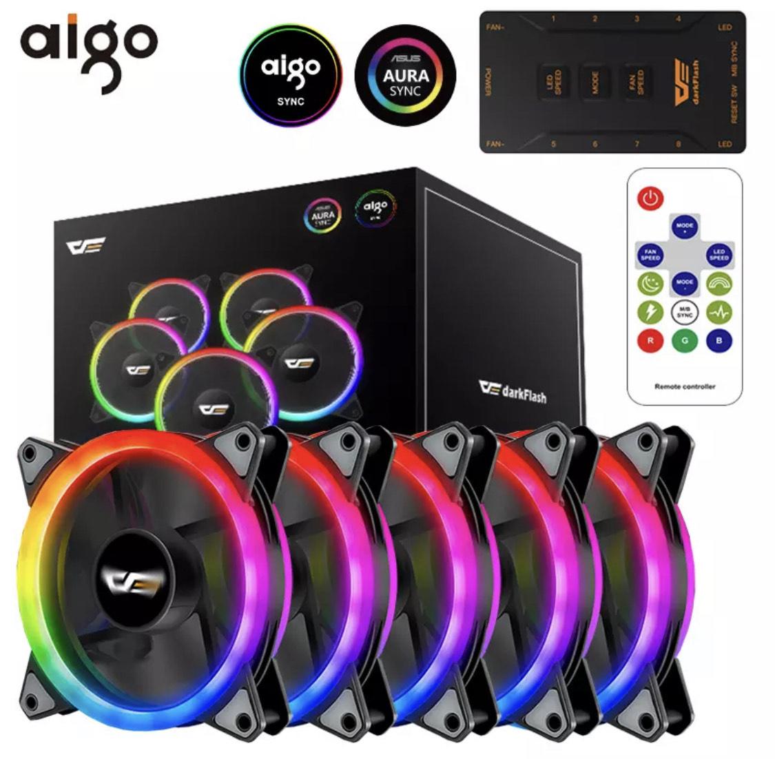 6 Ventilateurs RGB Aigo DR12 Pro + Contrôleur