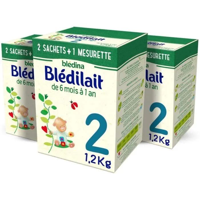 Lait en Poudre pour Bébé Blédina Blédilait 2ème âge (6 Mois à 12 Mois) - 3x 1,2kg